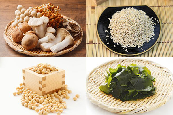 食物繊維が豊富な食品(野菜類・きのこ類・大豆・わかめ・押し麦)