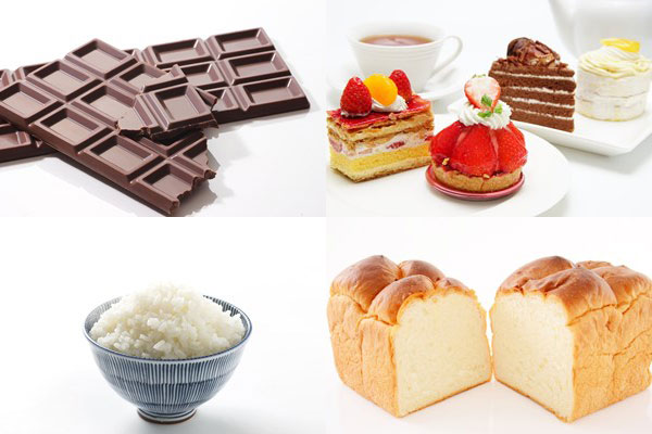 糖質を多く含む甘い食べ物や炭水化物