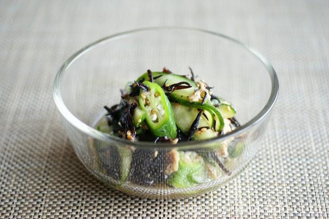 ひじきと胡瓜とオクラの中華風和え物