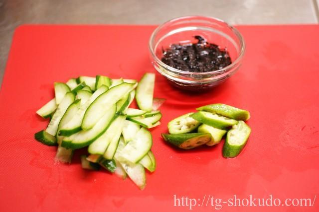 ひじきと胡瓜とオクラの中華風和え物の作り方の手順1の画像