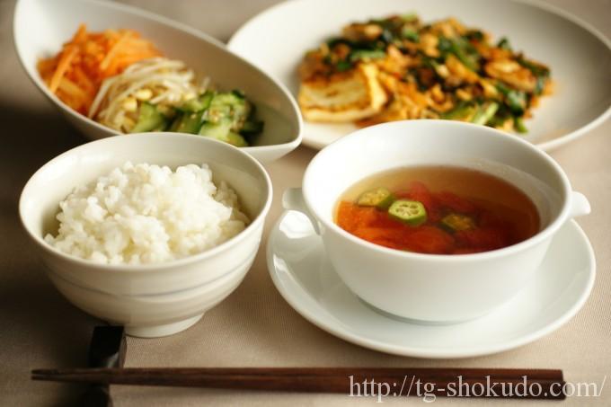 中性脂肪を下げる献立(夏No.1の5日目)豆腐でボリュームアップの炒め物献立