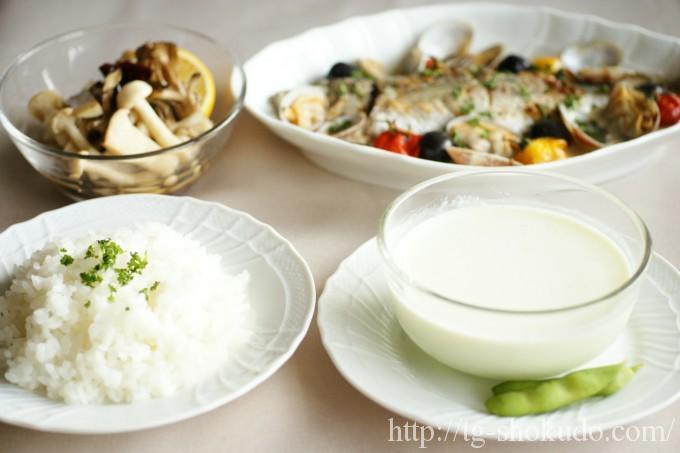 中性脂肪を下げる献立(夏No.1の7日目)骨付き魚と殻付き貝のアクアパッツァで早食い防止献
