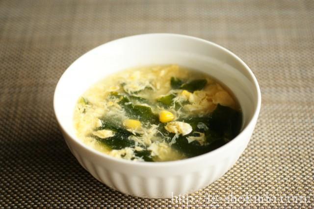 わかめとコーンのかき玉スープ