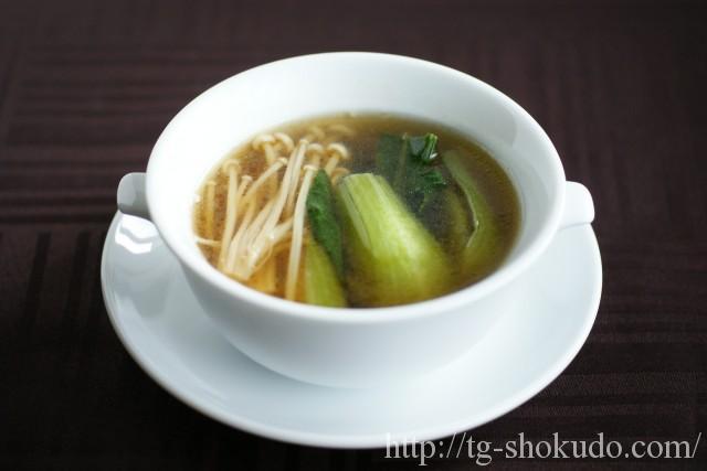 えのきと青梗菜(チンゲン菜)のスープ