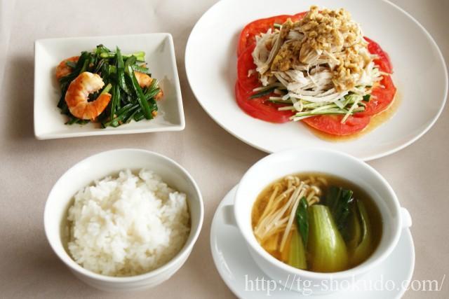 中性脂肪を下げる献立(夏 No.2の4日目)野菜が無理なくたくさん食べられる中華風献立