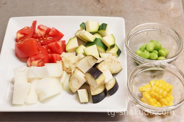夏野菜の冷製ミネストローネの作り方の手順1の画像