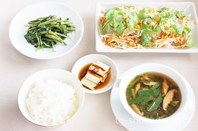 中性脂肪を下げる1週間の献立例【夏~秋No.2】野菜たっぷりの刺身の中華献立